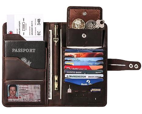 Cartera de Viaje con Bloqueo RFID Impresionante Cartera de Pasaporte Tarjetas de crédito Titular Documento Organizador