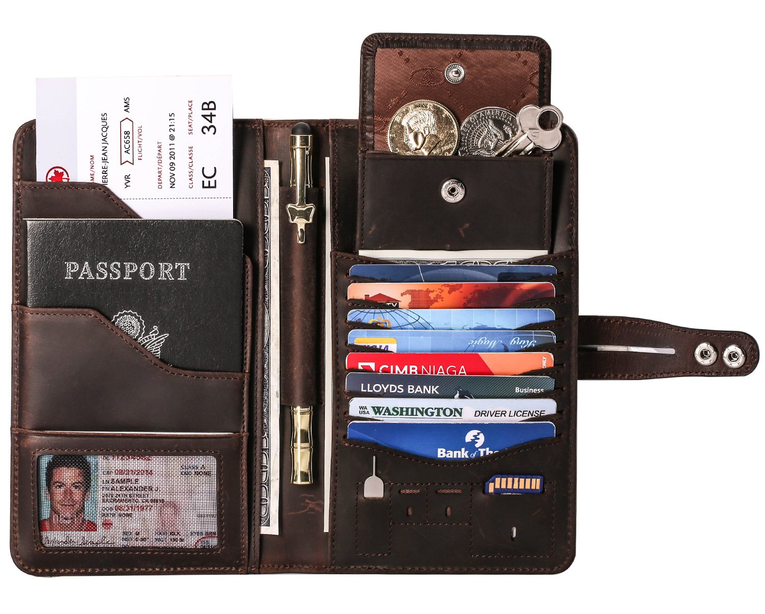 Travel Wallet with RFID Blocking Awesome Passport Wallet Credit Cards Holder Document Organizer Genuine Leather