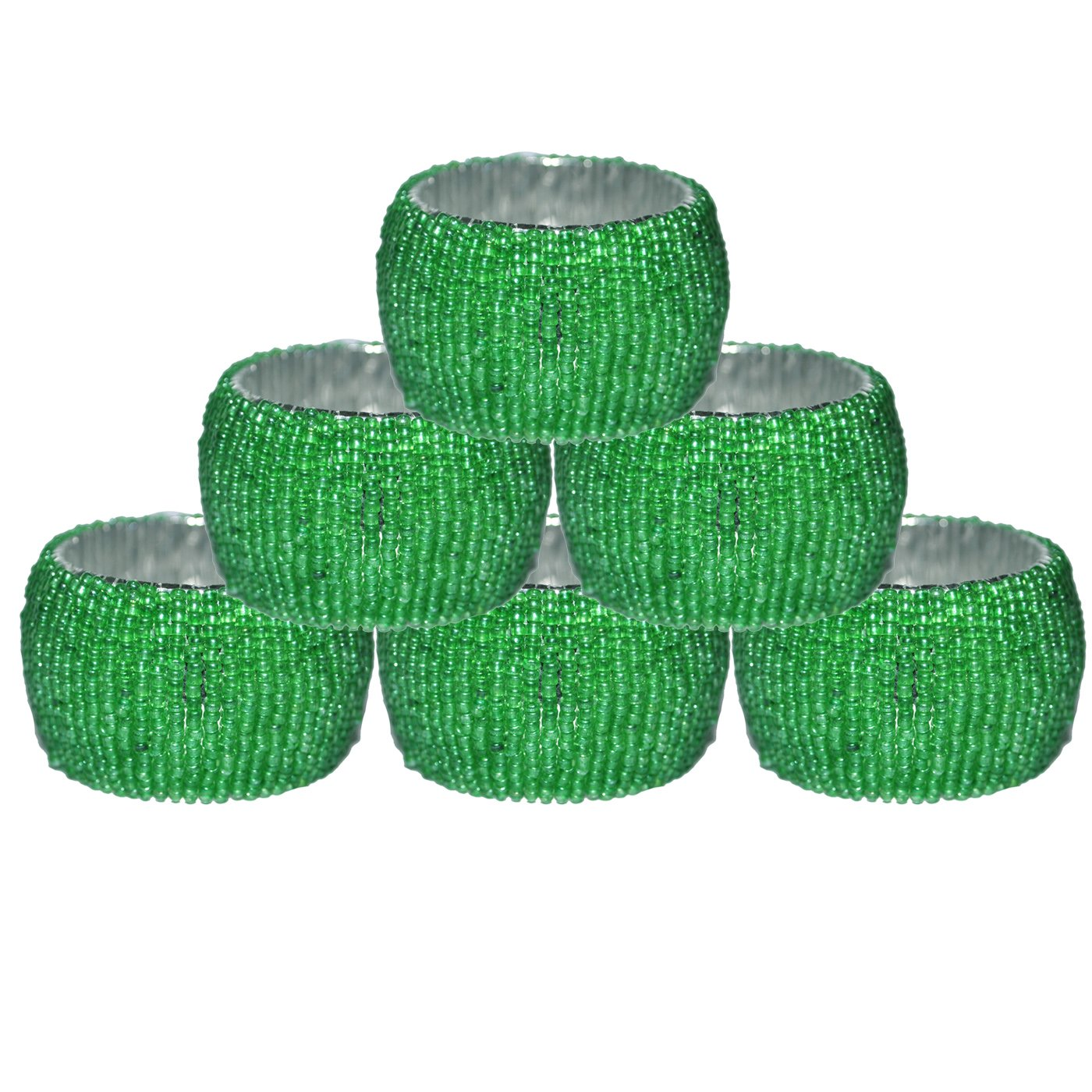 DakshCraft Light Green Beaded Napkin Rings - Set of 6, Table Accessories Item & Perfect for Dining Decor - Dia - 1.5 inches