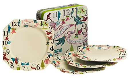 Rosanna 12 Days Of Christmas Gift-Boxed Dinner Plates Set of 4  sc 1 st  Amazon UK : 12 days of christmas dinnerware set - pezcame.com