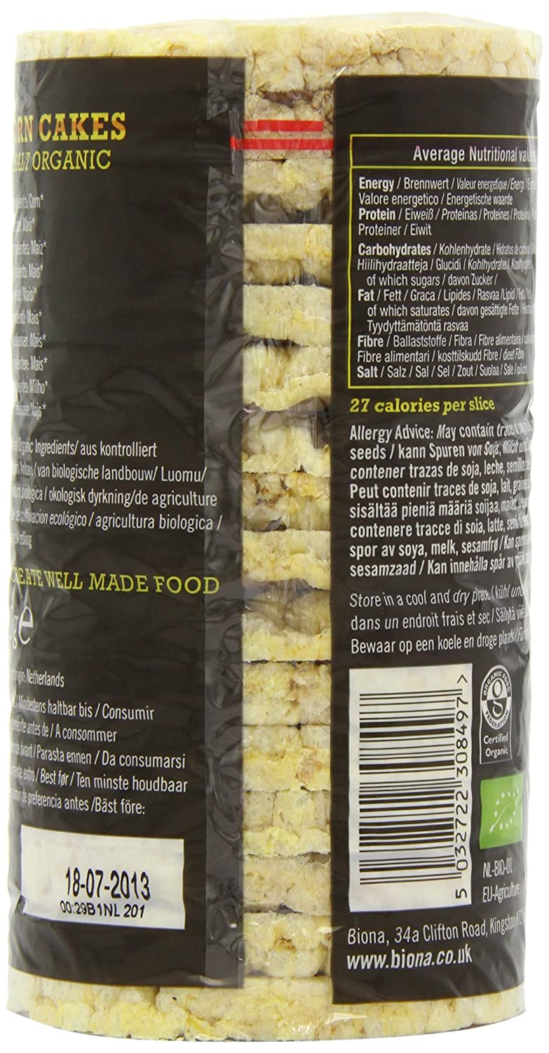 Amazon.com : Biona Organic - Corn Cakes - Plain No Salt - 110g (Case of 12) : Grocery & Gourmet Food