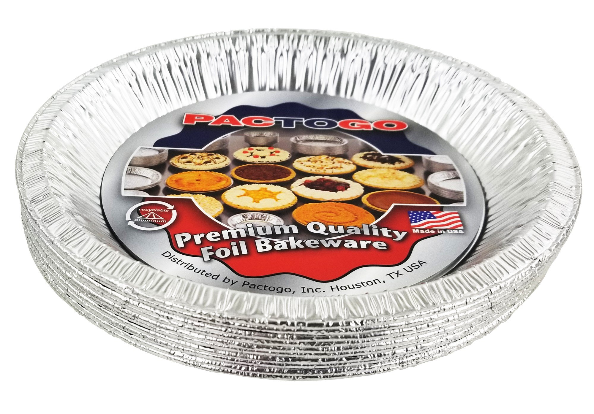 Pactogo 10'' (Actual Top-Out 9-5/8 Inches - Top-In 8-3/4 Inches) Aluminum Foil Pie Pan - Disposable Baking Tin Plates (Pack of 12) by PACTOGO (Image #4)