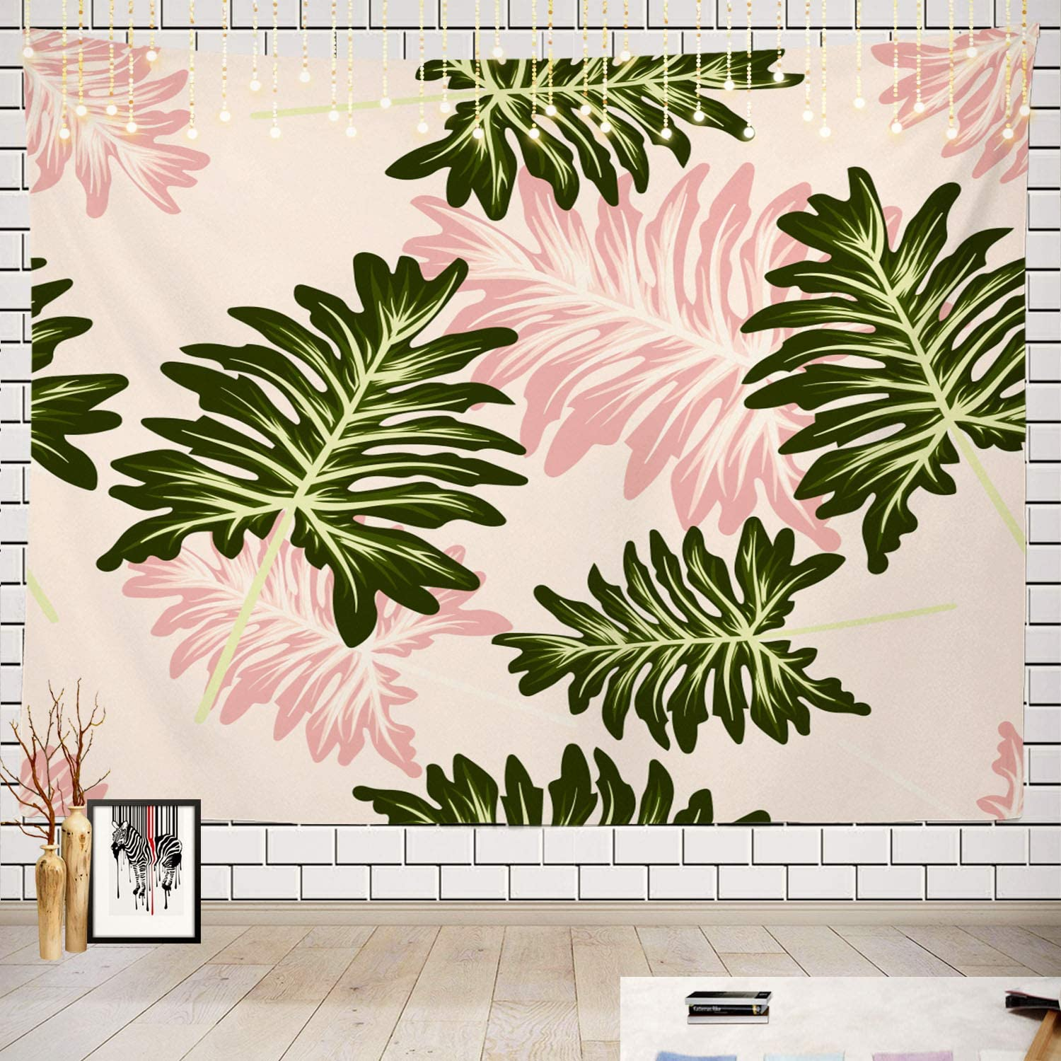 Batmerry Light Pink Tapestry, Colorful Abstract Exotic Beach Trendy Floral Tropical Leaves Picnic Mat Hippie Trippy Tapestry Wall Art Decor for Bedroom Living Room, 51.2 x 59.1 Inches, Pink Blue