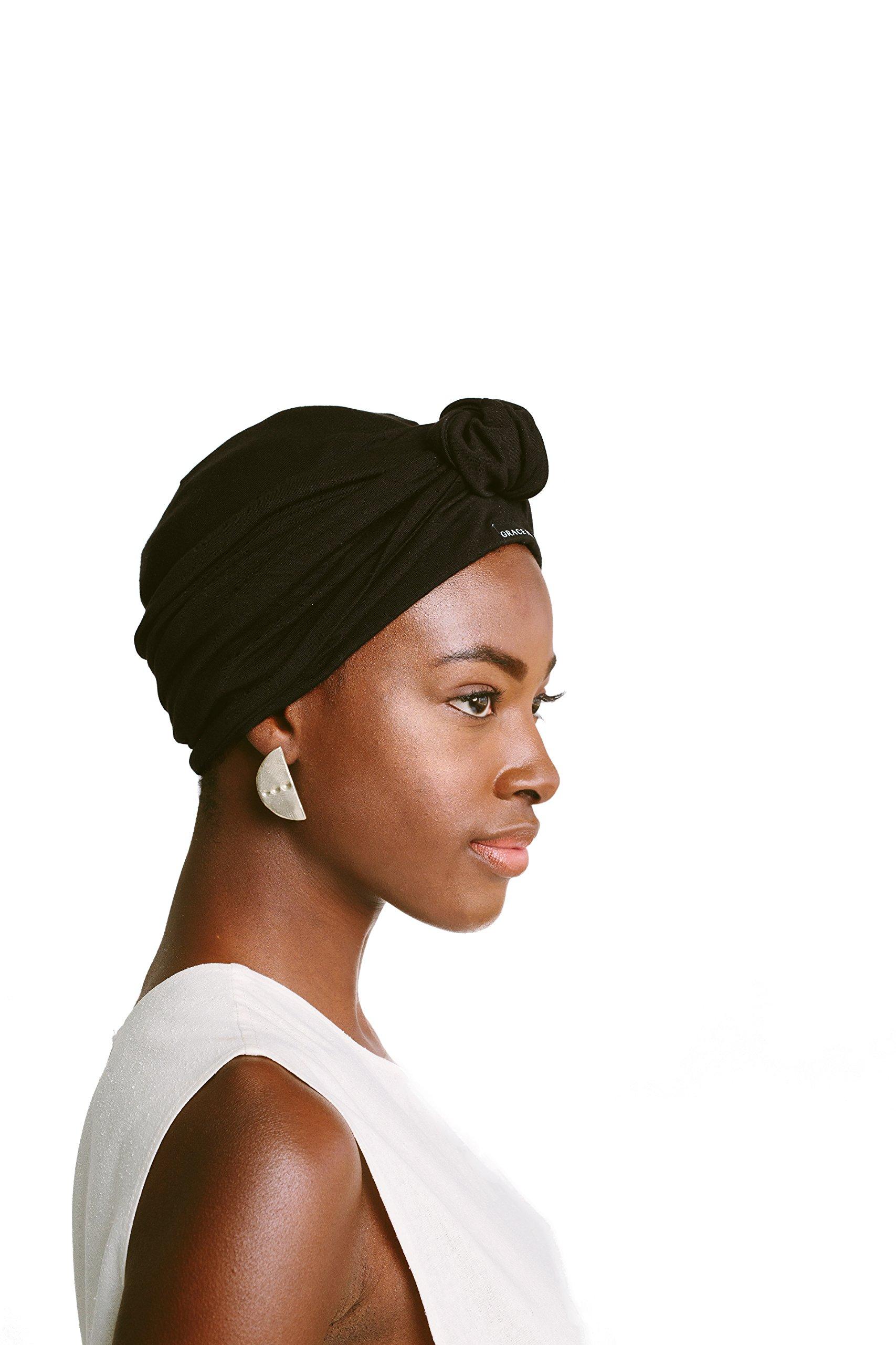 Grace Eleyae Knot Turban, Satin-Lined Hair Care Headwear [Day & Night] Black by Grace Eleyae