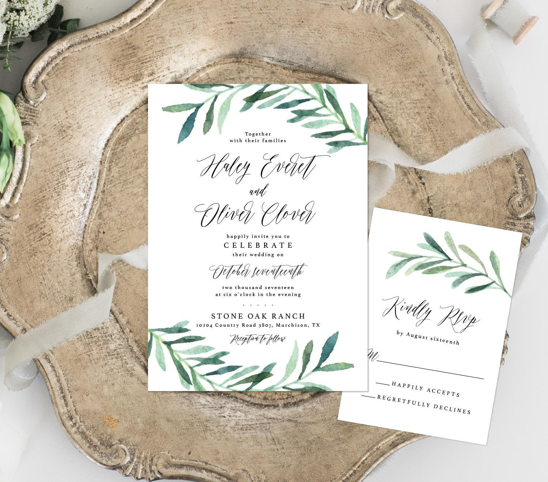Greenery Wedding Invitation, Watercolor Wedding Invitation, Eucalyptus Leaves Wedding Invitation