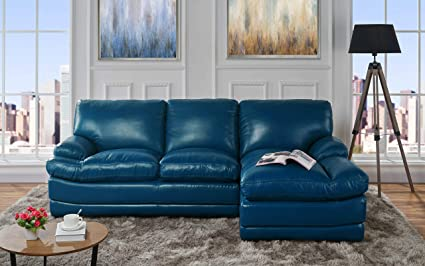 Leather Match Sectional Sofa, L-Shape Couch with Chaise Lounge (Right  Chaise, Blue)