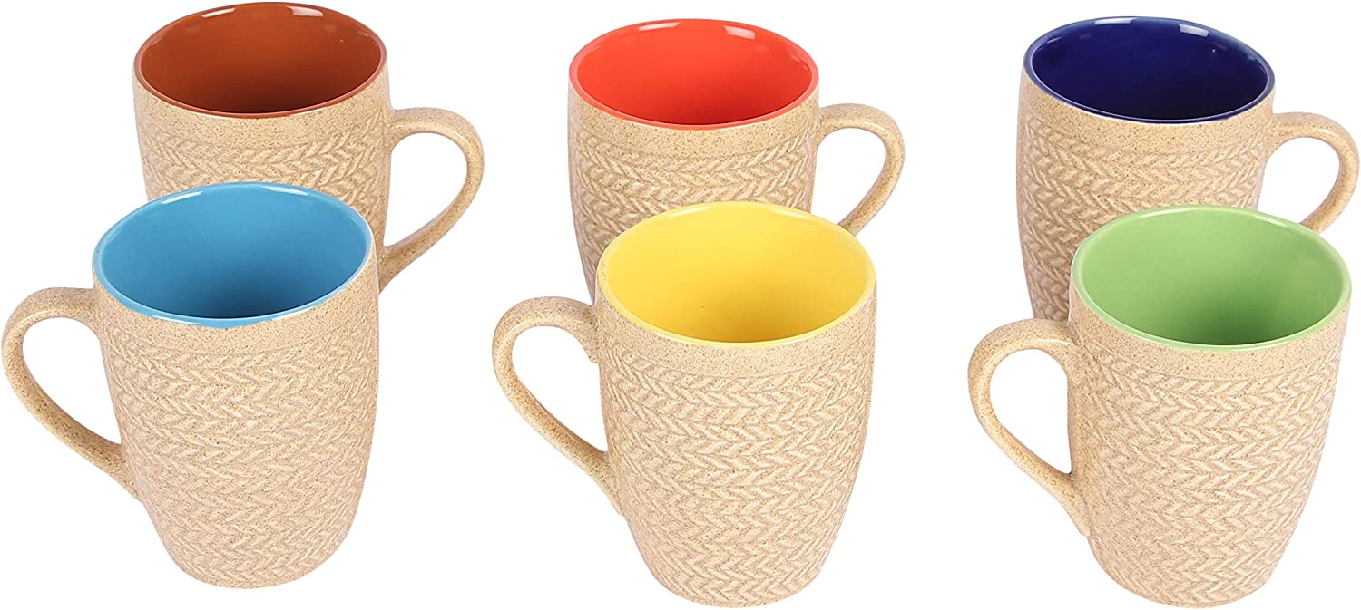 Poseidon Series Ceramic Coffee Mugs – 6 Pieces, Textured Gold
