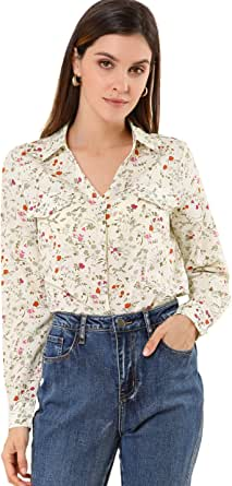 Allegra K Women's Elegant V-Neck Shirt Floral Faux Pocket Long Sleeve Blouse