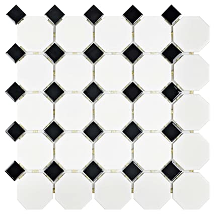 SomerTile FXLM2OWD Retro Octagon Porcelain Floor and Wall Tile, 11.5 ...