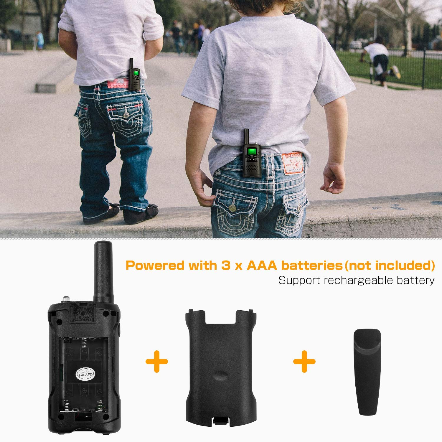 Kids Walkie Talkies with Whistles and Lanyards, Two Way Radio Long Range Walkie Talky Toy with Flashlight for Boys Girls by VERDUO (Image #3)