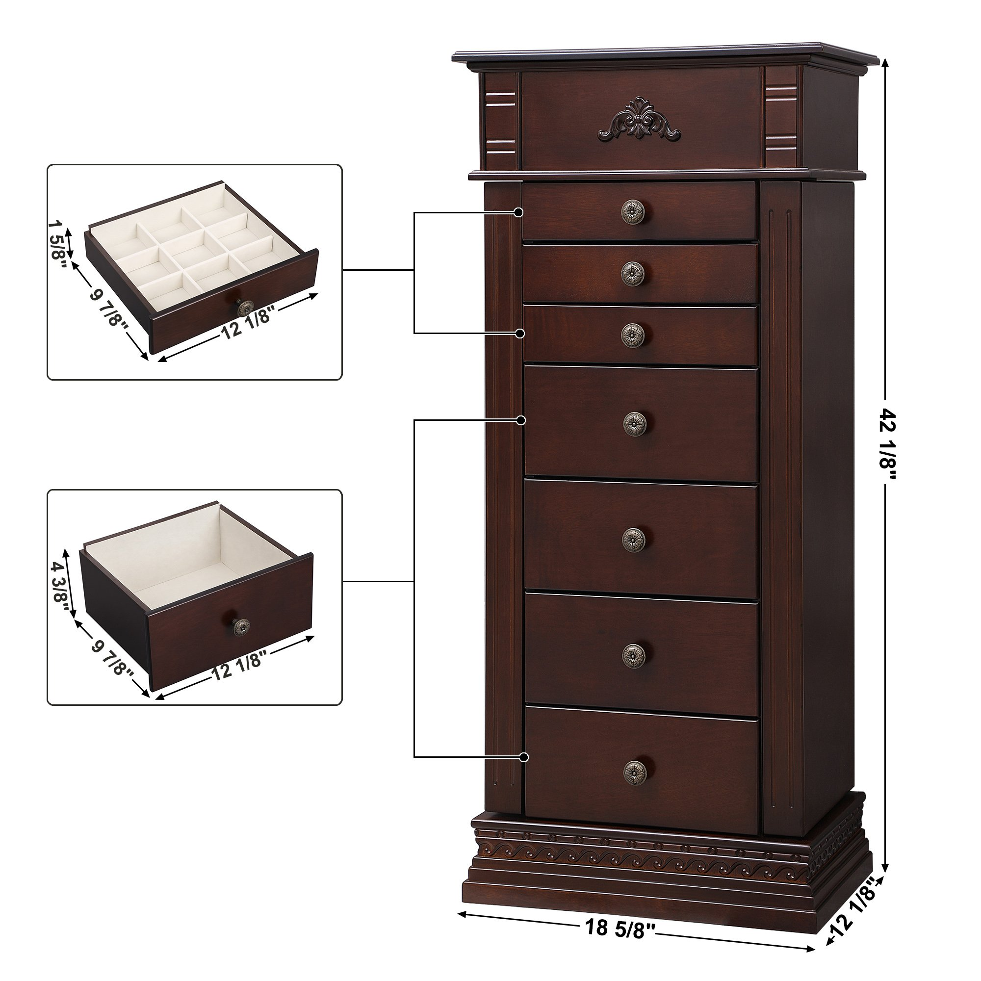 SONGMICS Large Jewelry Armoire Cabinet Standing Storage Chest Neckalce Organizer Dark Walnut UJJC14K by SONGMICS (Image #7)