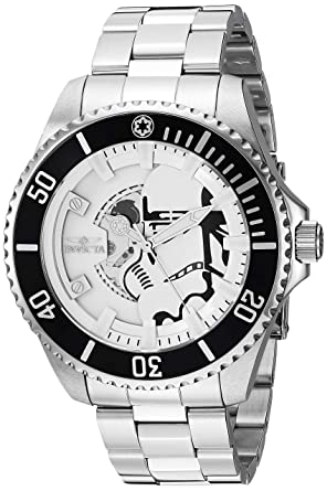 Invicta Mens Star Wars Automatic Stainless Steel Fashion Watch, Color:Silver-