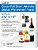 """Milcoast Glossy Full Sheet 8.5"""" x 11"""" Adhesive Waterproof Photo Craft Paper - Works with Inkjet/Laser Printers - for Stickers, Labels, Scrapbooks, Bottle Labels, Arts and Crafts (50 Sheets)"""
