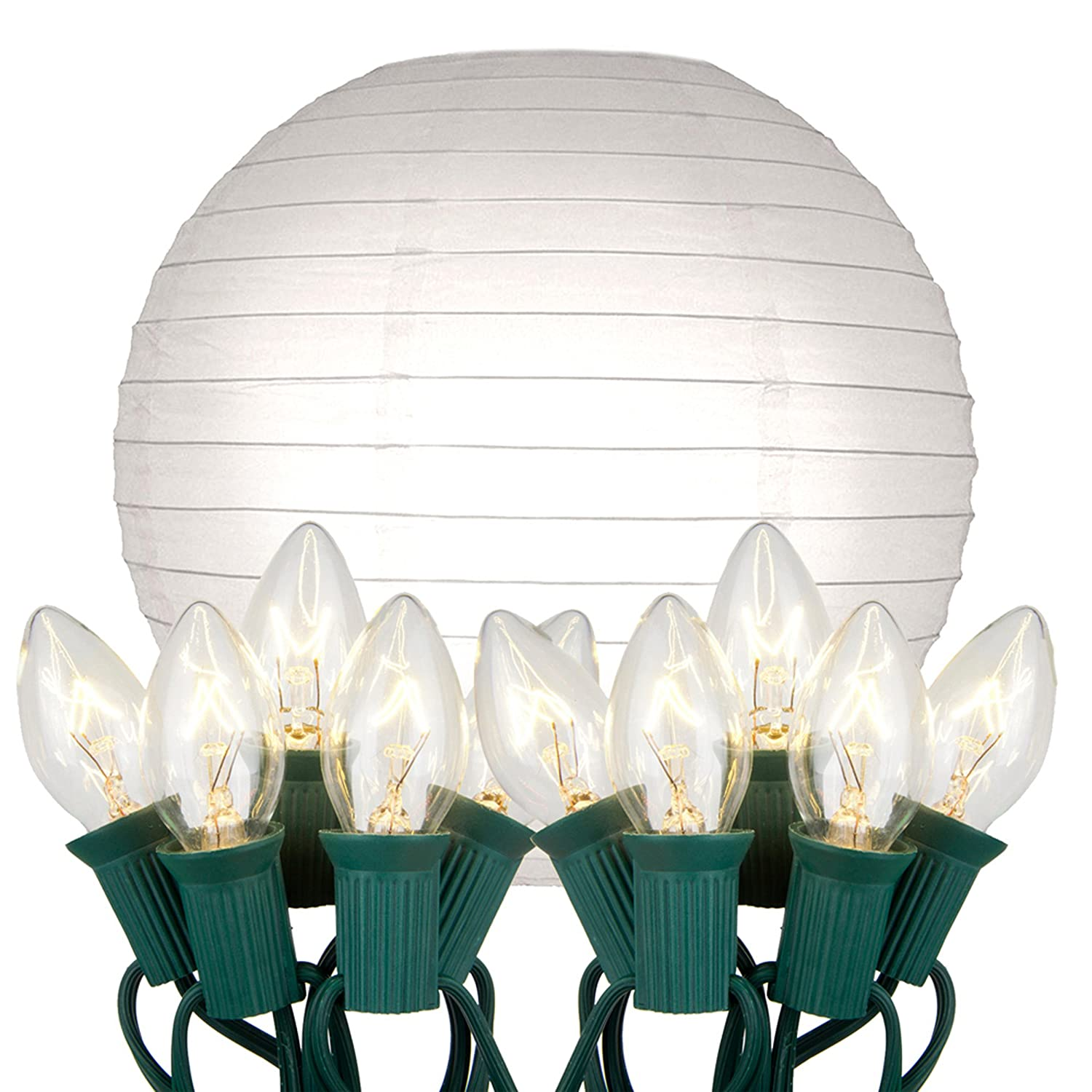 Lantern string lights - Amazon Com Lumabase 24010 10 Count Electric String Lights With Paper Lanterns 10 White Patio Lawn Garden