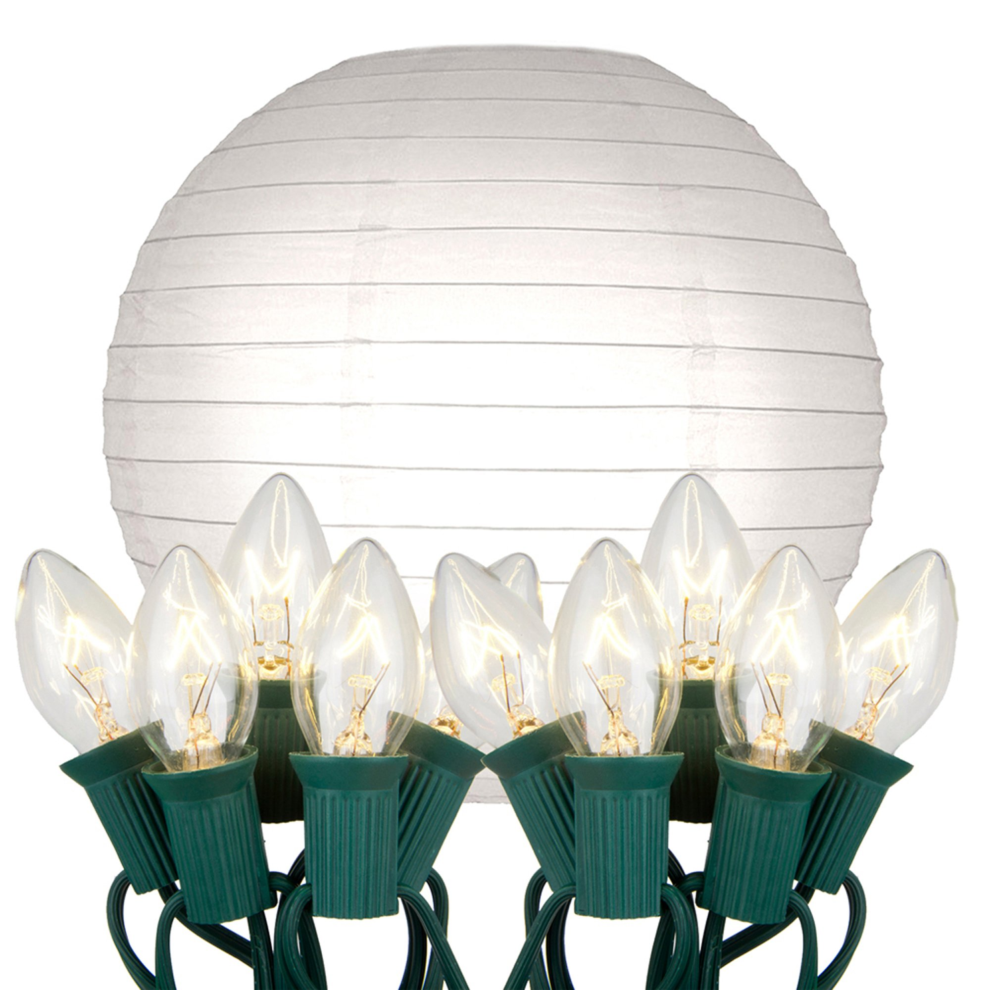 Lumabase 24010 10 Count Electric String Lights with Paper Lanterns, 10'', White by Lumabase