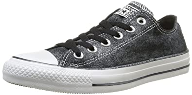 28202b92f9b1 Converse Womens Chuck Taylor All Star Femme Sparkle Wash OX Trainers 382450  8 Black White