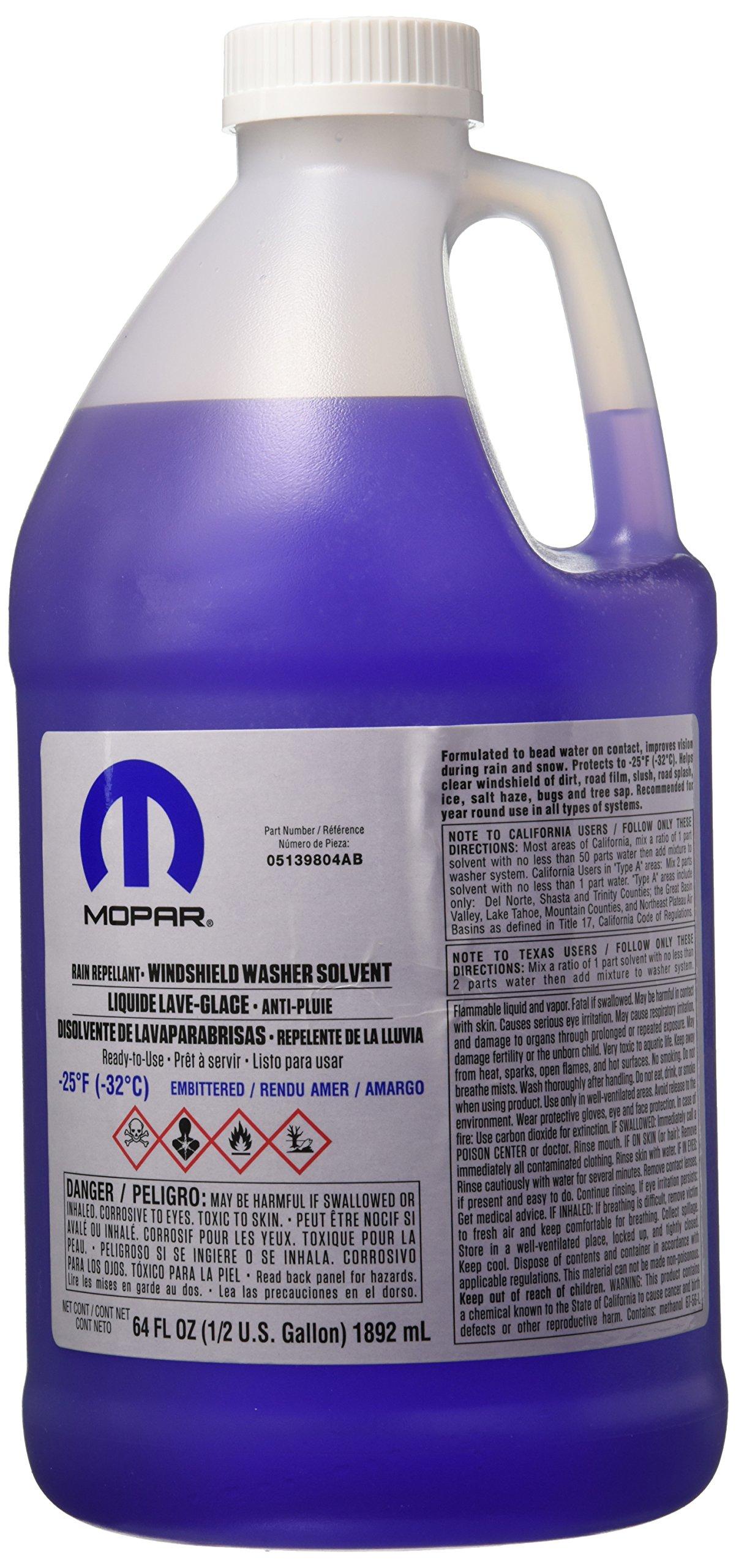 Genuine Chrysler Accessories 5139804AB Rain Repellant Windshield Washer Fluid - 64 oz. Bottle