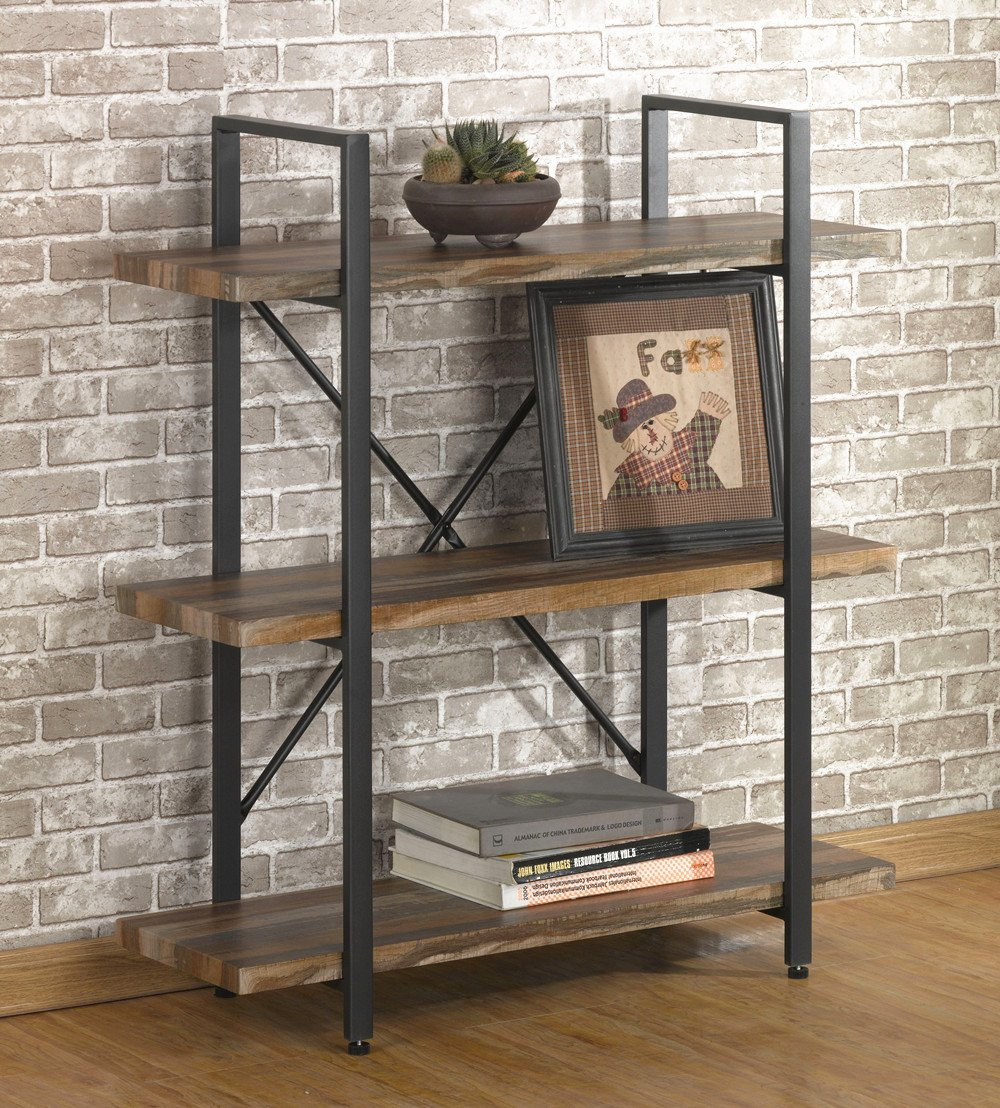 O&K Furniture 3 Tier Vintage Bookshelf, Industrial Style Bookcases Furniture by O&K Furniture