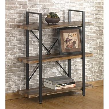 O&K Furniture 3 Tier Vintage Bookshelf, Industrial Style Bookcases Furniture
