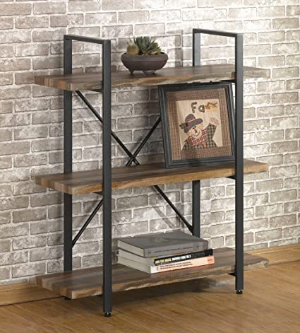 OK Furniture 3 Tier Vintage Bookshelf Industrial Style Bookcases