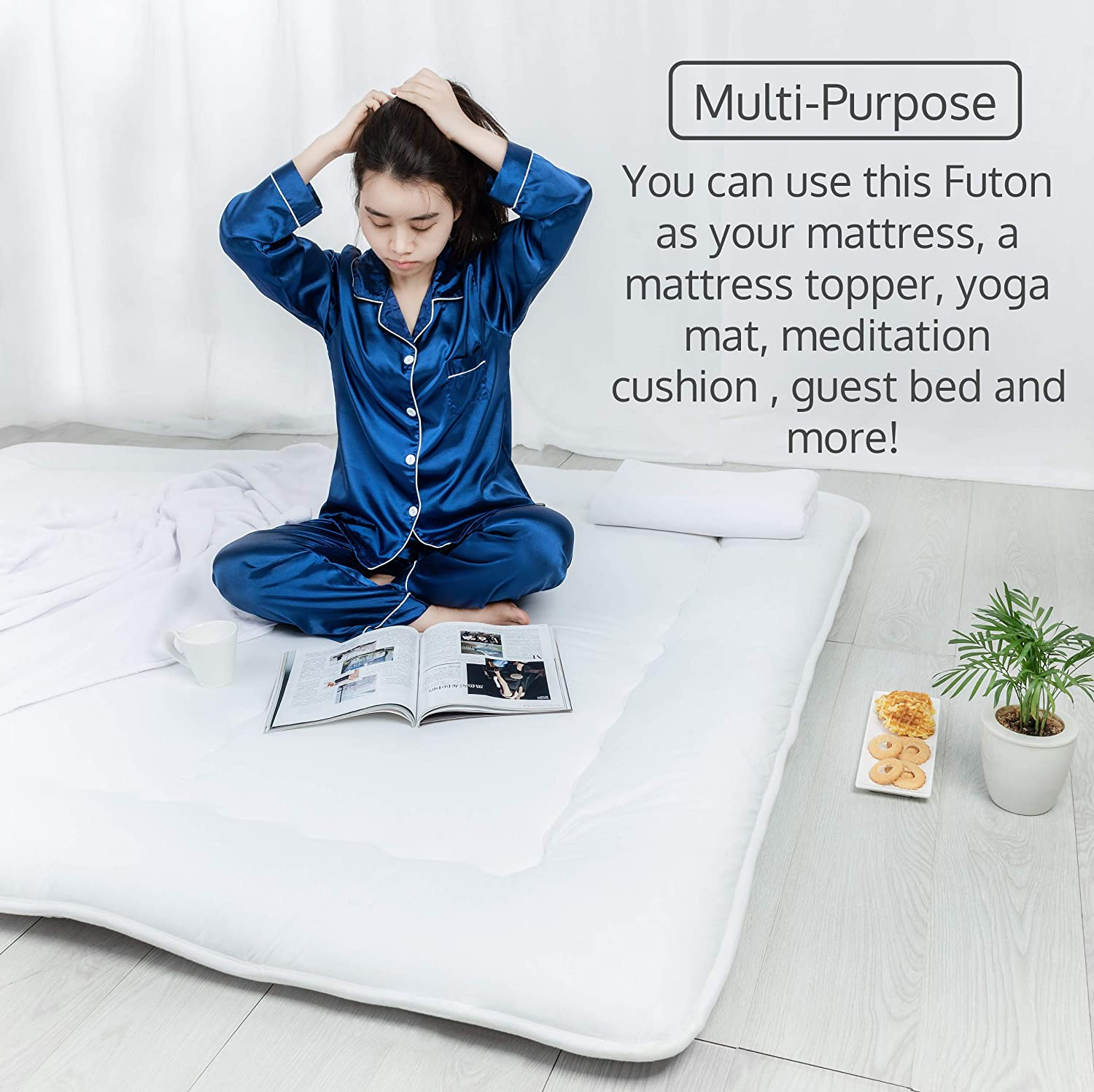 Luxton Home Japanese Shiki Futon Foldable Mattress for Sleep & Travel - Queen Long