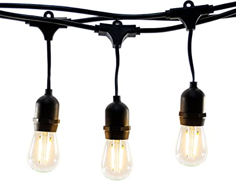 Hyperikon Led Outdoor Commercial String Lights 48ft With 24 Hanging Sockets 2w Led S14 Led Bulbs Included Weatherproof Vintage Edison String Lights For Patio Backyard Party Wedding Decoration Amazon Co Uk Diy