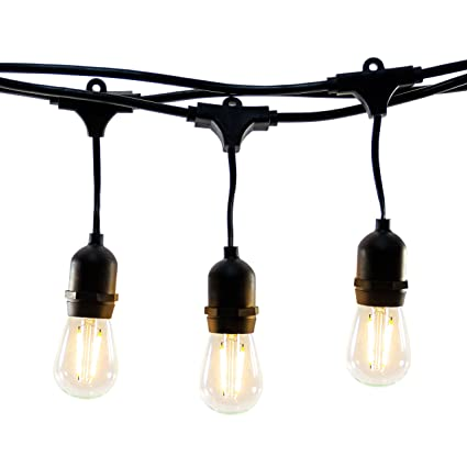 f92eb2049 Hyperikon LED Outdoor Commercial String Lights, 48ft with 24 Hanging  Sockets, 2W LED S14