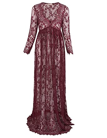Kate Kasin Deep V Neck See Through Lace Maxi Long Maternity Photo Shoot Dress