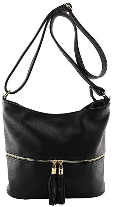 93eeef6909 Faux leather womens multi pockets large crossbody bags with tassels (black)