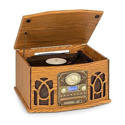 auna NR-620 Dab Equipo estéreo - Tocadiscos con 33 y 45 RPM, Lector de CD, Grabadora de Cassettes, Radio, Bluetooth, Puerto USB, Fácil de Grabar y Lee ...