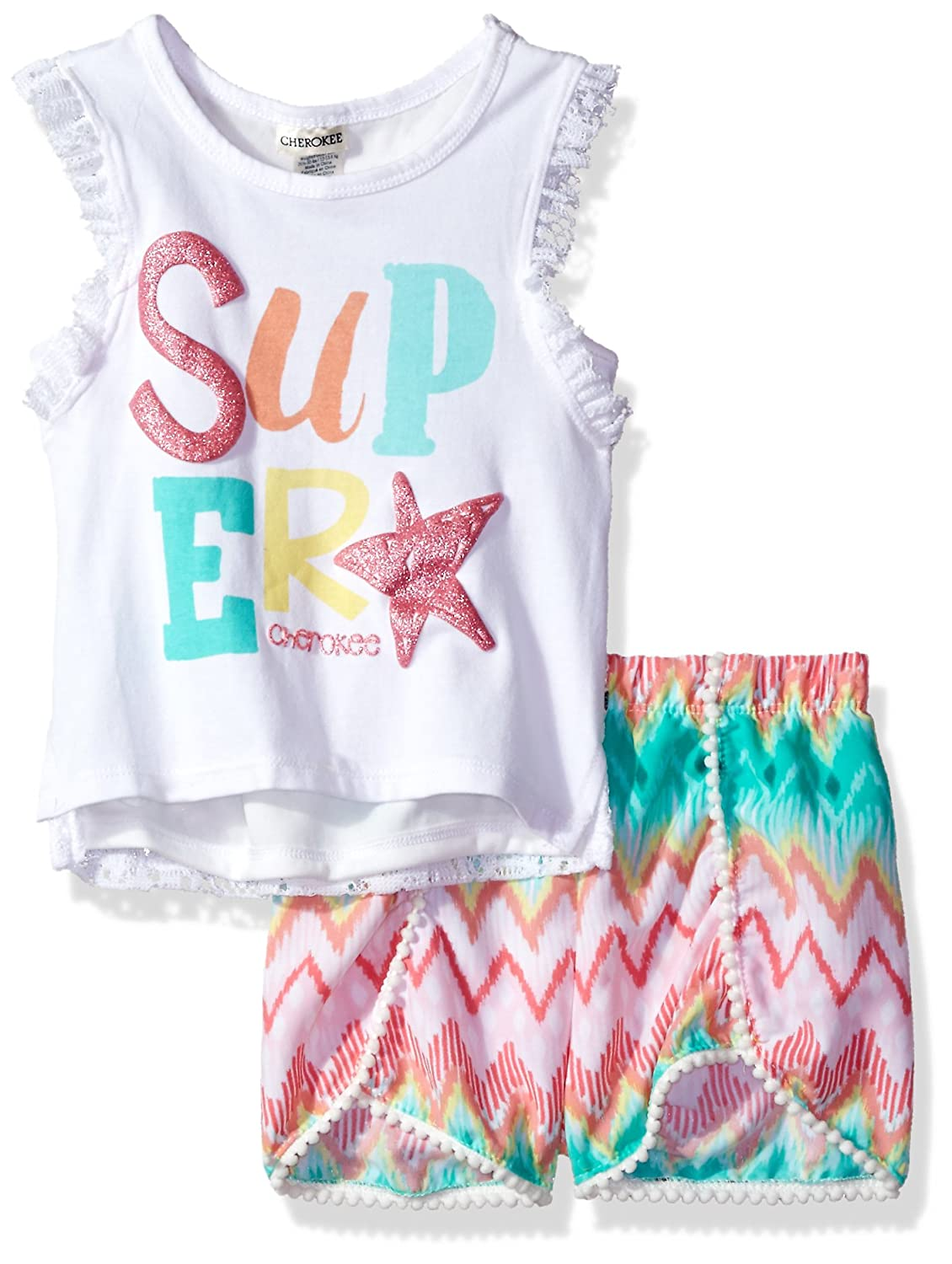 Cherokee Girls Toddler Tank with Lace Back and Challis Short Set