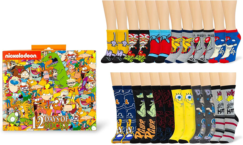 Nickelodeon 12 Days Of Socks Gift Set For Men Women 6 Crew 6 Ankle Amazon Co Uk Toys Games