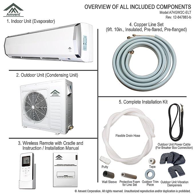 amvent 24000 BTU 2 Ton Conducto Soporte de pared Mini sala de Split Aire acondicionado AC acondicionado sistema de refrigeración unidad: Amazon.es: Hogar