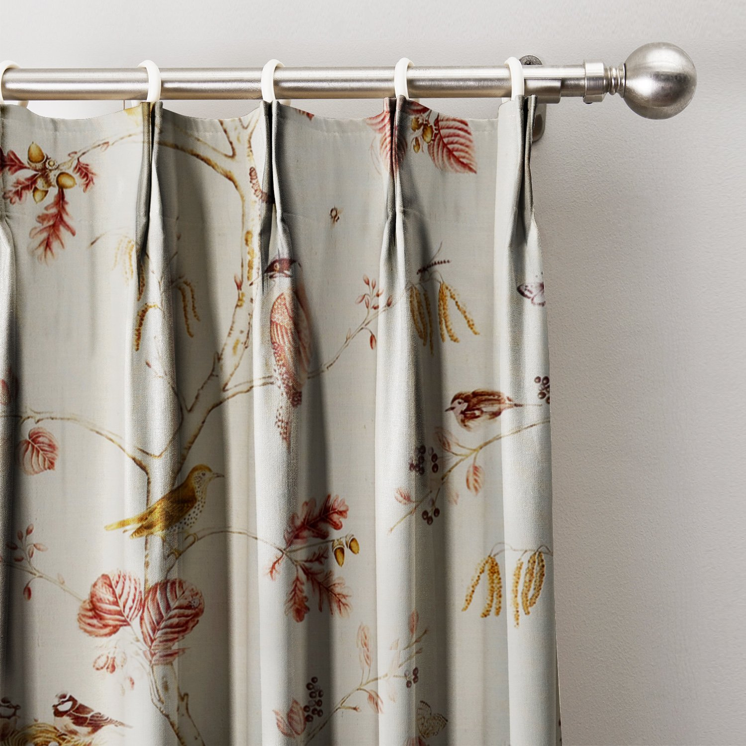 Rural Pastoral Print Window Curtain 120''W x 96''L, Pinch Pleat Blackout Lining Darpes Panel For Bedroom Living Room Hotel Restaurant (1 Panel), BURGUNDY
