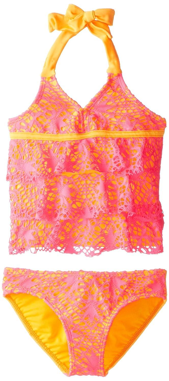 23a9f115b20 Amazon.com: Kensie Big Girls' 2 Piece Crochet Lace Ruffle Tankini Set:  Clothing