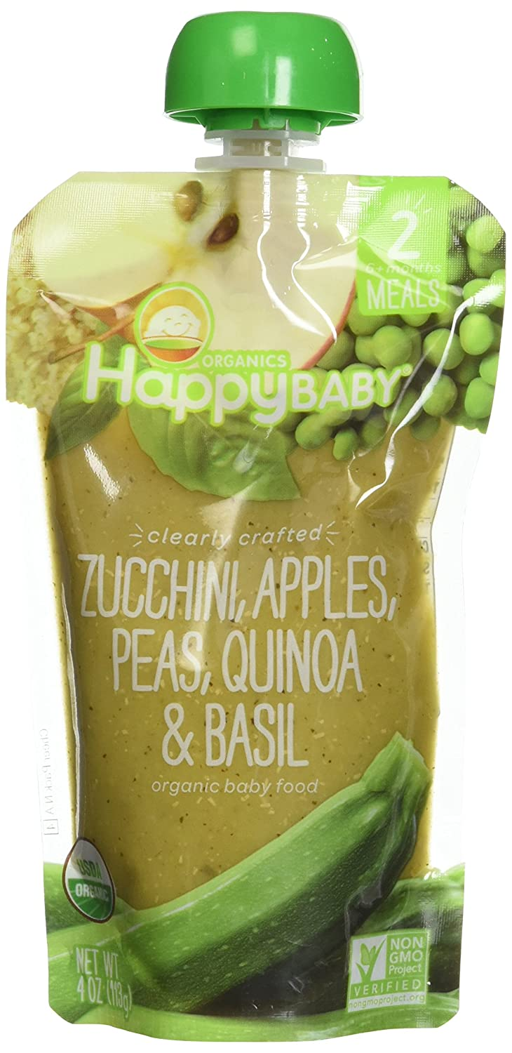HappyFamily - HappyBaby Organic Clearly Crafted Stage 2 Baby Food 6+ Months Zucchini, Apples, Peas, Quinoa & Basil - 4 oz.