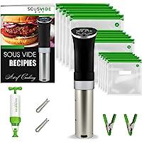 Sous Vide Cooker Immersion Circulator – Sous Vide Kit ALL-IN-ONE - Sous Vide Machine - Sous Vide Starter Kit – Sous Vide Pod 1000W 120V, 15 Sous Vide Vacuum Bags, Pump, Clips, FREE Cookbook