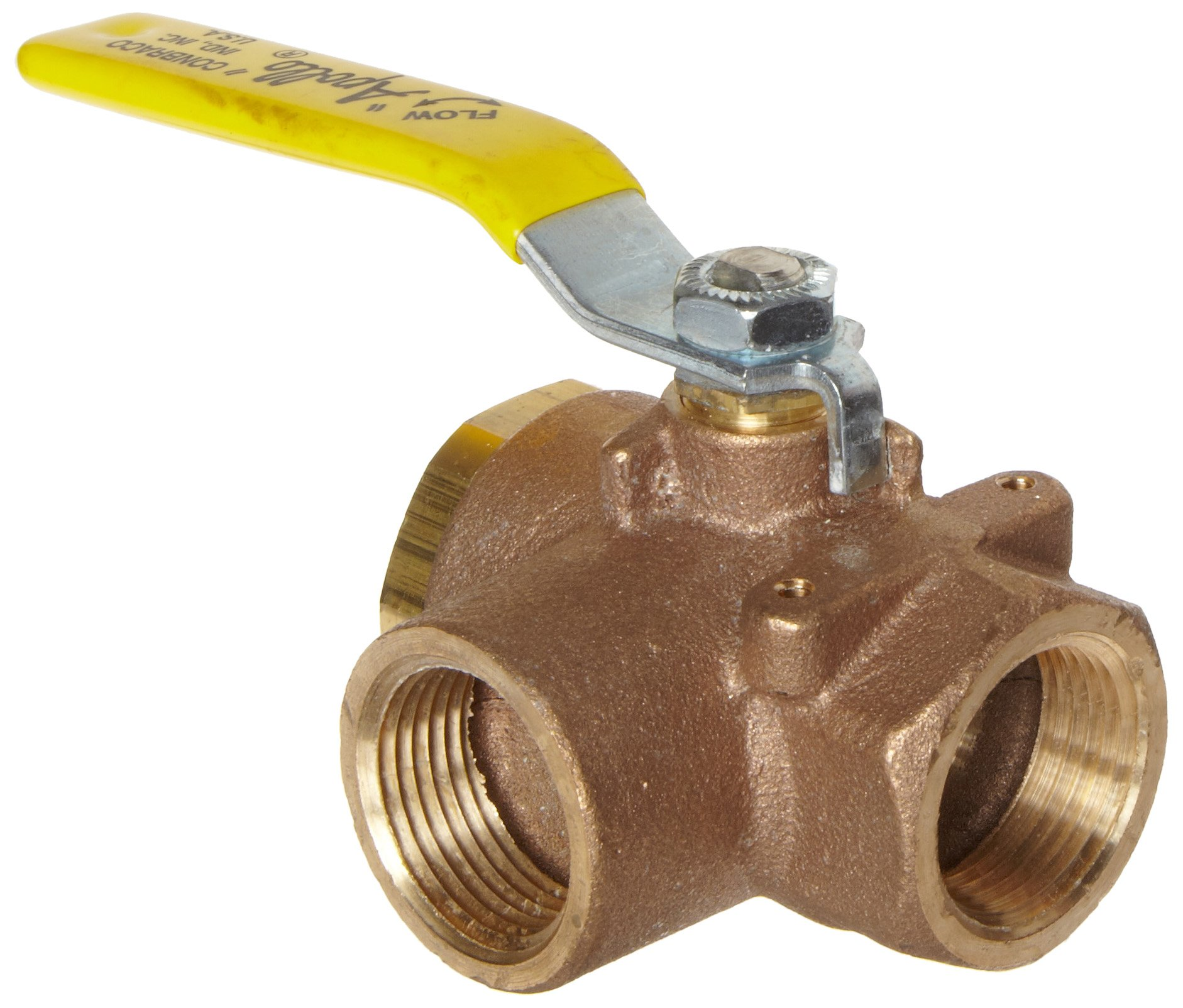 Apollo 70-640 Series Bronze Ball Valve with Stainless Steel 316 Ball and Stem, Two Piece, 3-Port Diverting, Lever, 1-1/4'' NPT Female