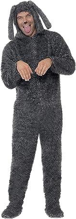 """Incluye Disfraz de perro de peluche, Gris, con traje entero con capucha,Tórax 38""""-40"""" / cintura 32""""-"""