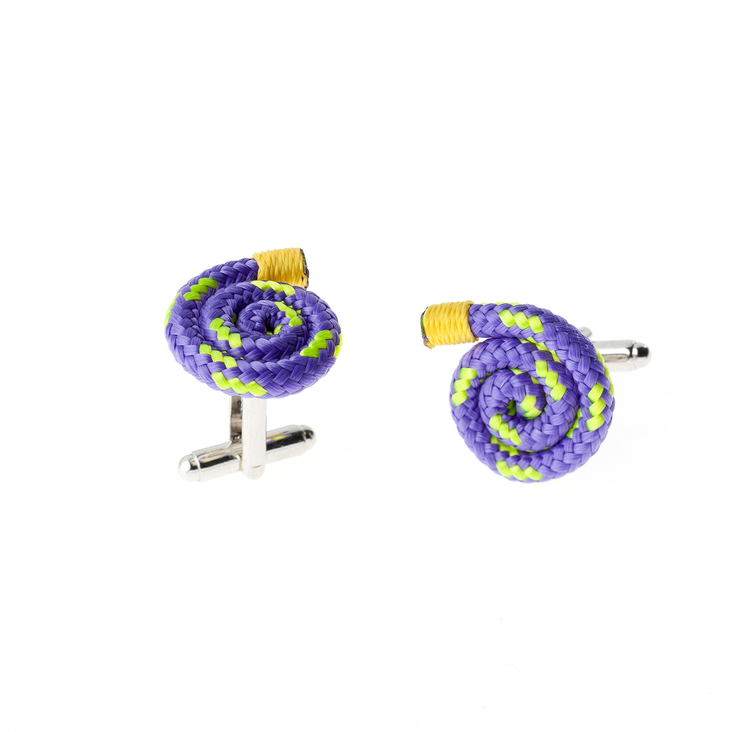 Purple Designer Unique Stylish Handmade Rope String Cufflinks for Men