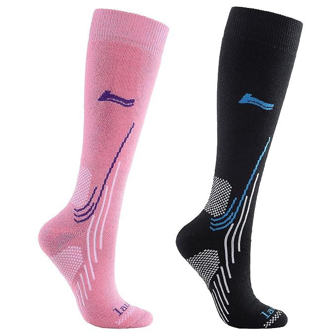 Laulax Alta calidad Lana de merino calcetines de esquí (4 diseños en para hombre y mujer: Amazon.es: Ropa y accesorios