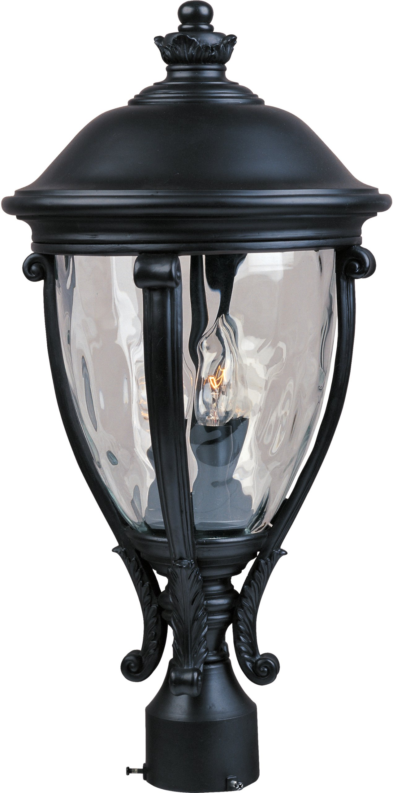 Maxim 41421WGBK Camden VX 3-Light Outdoor Pole/Post Lantern, Black Finish, Water Glass Glass, CA Incandescent Incandescent Bulb , 60W Max., Dry Safety Rating, Standard Dimmable, Fabric Shade Material, Rated Lumens