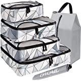 BAGAIL 6 Set Packing Cubes,Travel Luggage Packing Organizers with Laundry Bag (Geomtry Grey)