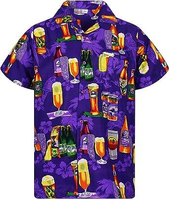 Funky Camisa Hawaiana Señores | XS -12XL | Manga Corta | Bolsillo Delantero | impresión De Hawaii| Botella de Cerveza: Amazon.es: Ropa y accesorios