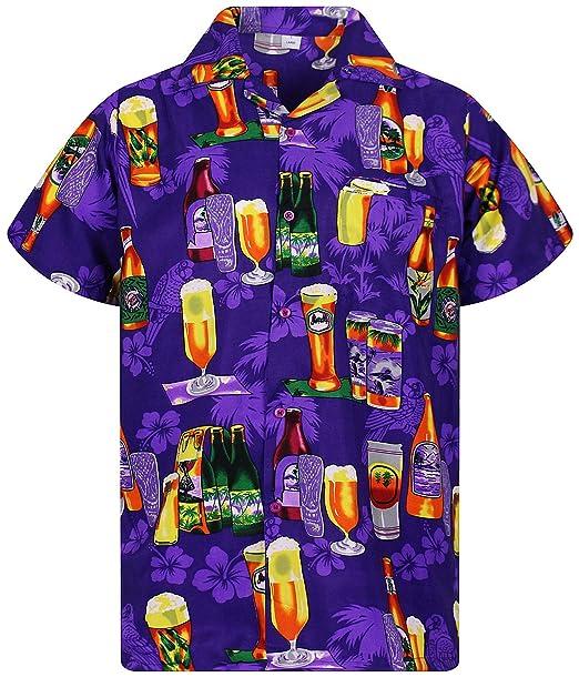 7e2eb4b3a1e0 VHO Funky Hawaiian Shirt Men Short Sleeve Front-Pocket Beerbottle Multiple  Colors