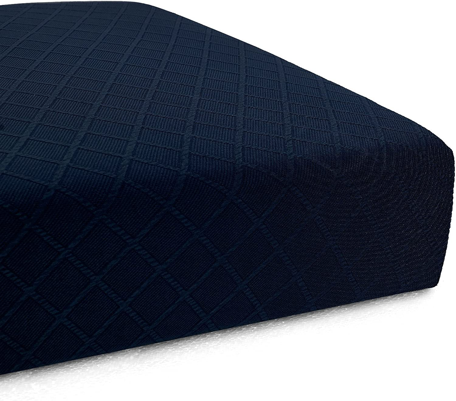 CHUN YI Stretch Polyester and Spandex Rhombus Cushion Slipcovers Multi-Purpose Couch Chair Seat Cushion Cover for 1-Seater Cushion (Dark Blue, Chair Cushion)