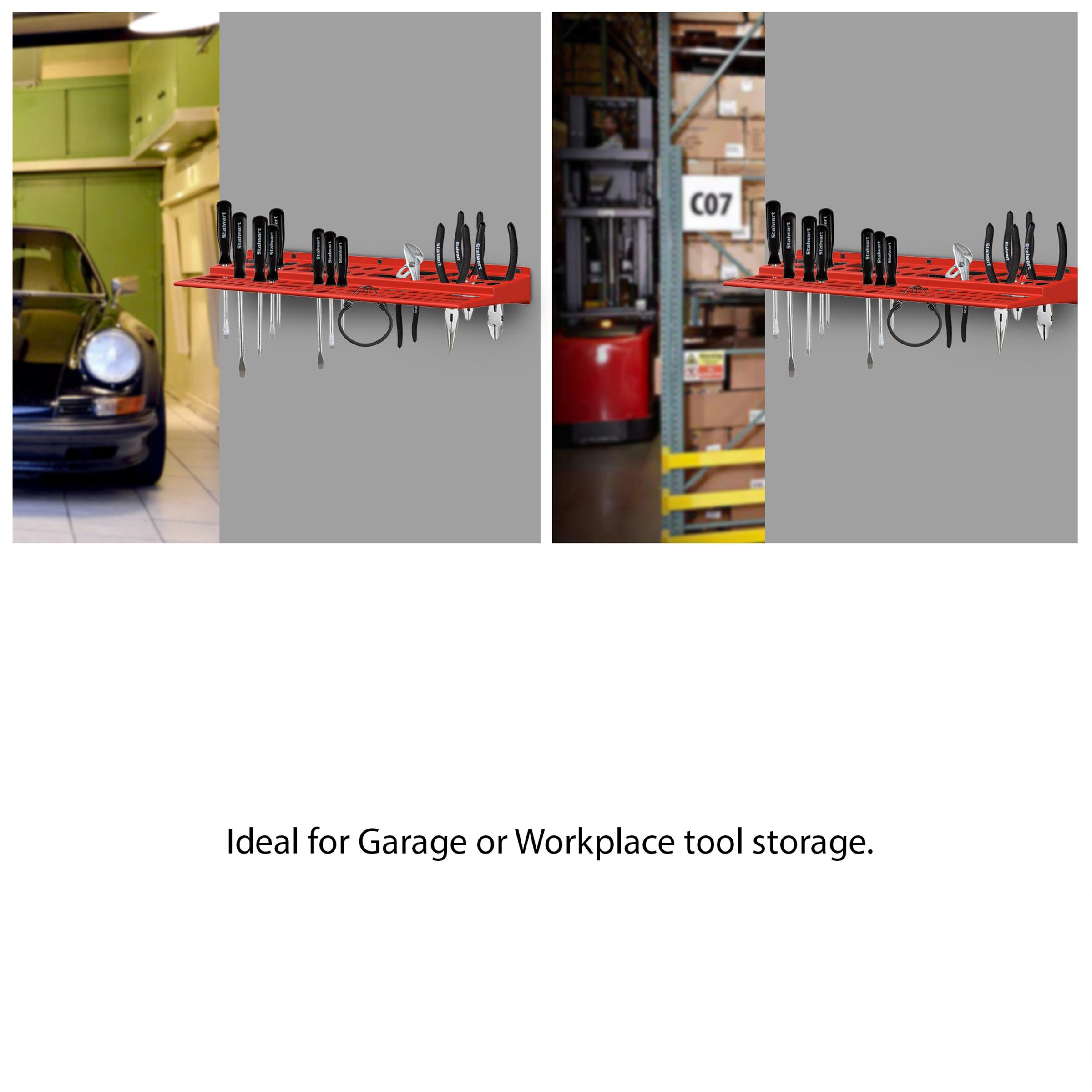Mountable Tool Storage Shelf for Garage, Shed or Work Shop Organization- Wall Mount Multi Level Organizer Rack, Holds Up To 96 Tools by Stalwart by Stalwart (Image #5)