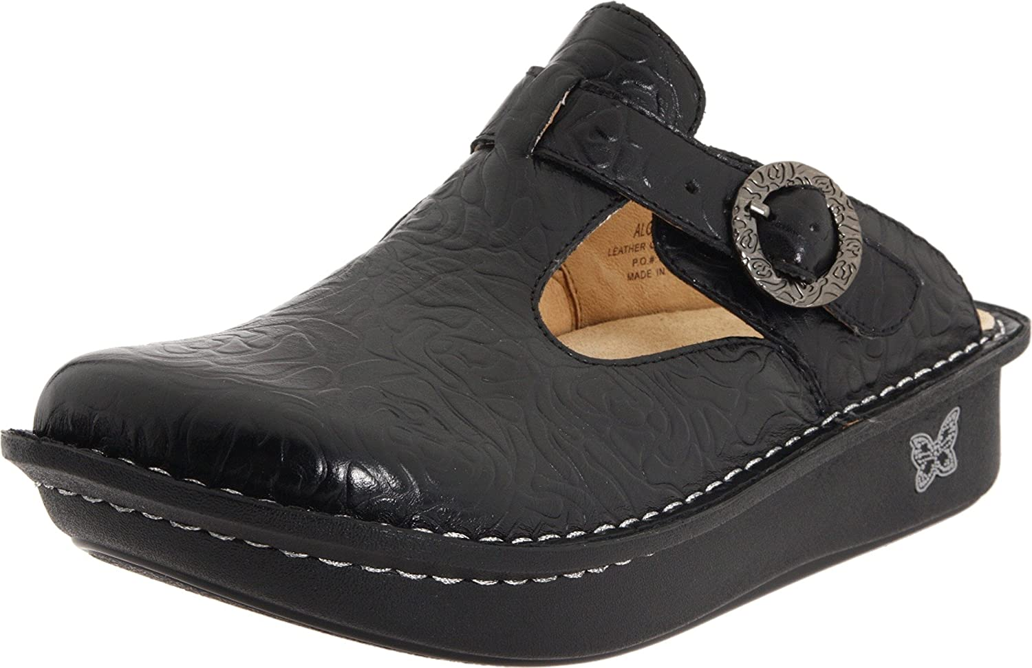 Alegria Women's Classic Clog B00C40V50I 36 M EU / 6-6.5 C/D US|Black Emboss Rose Leather