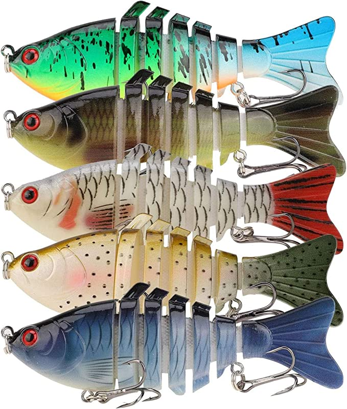 Xinanlongjb ZZB-lure 6 Segments 40g//15cm Fishing Bass Lure Crankbait Swimbait Sinking Wobblers Multi Jointed with Treble Hook Fishing Tackle Isca Color : 354