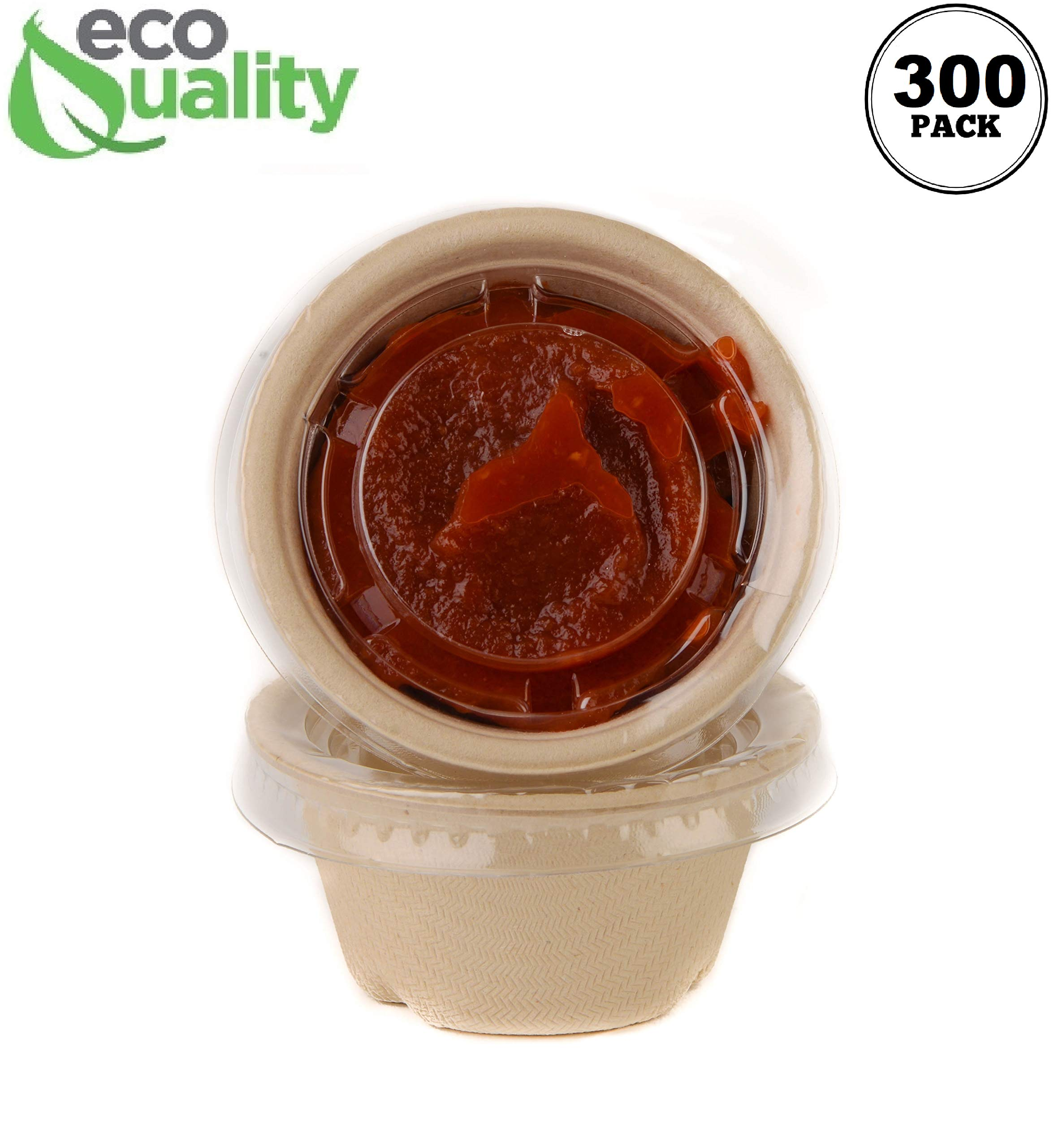 [300 Pack] 2 Oz Compostable Condiment Souffle Bagasse Cups with Lids - Portion Cup with Lid Sugarcane, Biodegradable Perfect for Sauces, Samples, Condiments, Slime, Jello Shot, Food Storage by EcoQuality